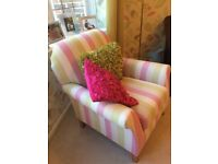 Next Pink and Green striped armchair in great condition