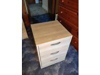 Birch effect Bedside Table with 3 drawers