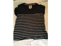 Jack wills navy and white ladies T-Shirt