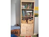 Small pine bookshelf with cupboard