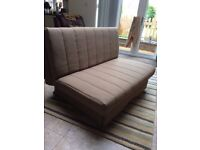 Sofa bed in beige/brown fabric