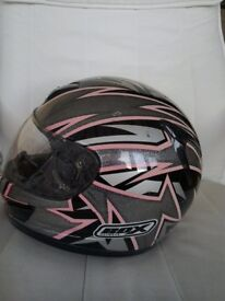Ladies box make helmet 55 /56cm small colour pink black and silver