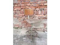 40s Vintage Metal Industrial Machinist Desk Swivel Chair Factory Architect