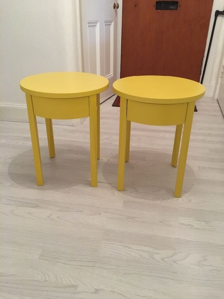 2 ikea stockholm yellow bedside tables side tables in for Ikea end tables salon