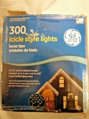 GE 300 ICICLE STYLE LIGHTS MERRY MIDGET FROST BLUE INDOOR OUTDOOR - BOX DAMAGE