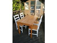 Set of 4 wooden upcycled dinning chairs