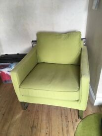 Ikea green fabric armchair, in excellent condition