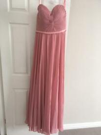 Prom dress in pink chiffon with satin detail