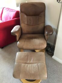 Lazy boy style chair and stool