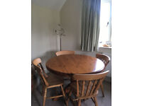 Round Solid Pine Table And Four Chairs