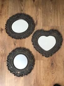 Set of 3 bronze mirrors