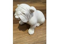 Habitat white stone bulldog dog ornament