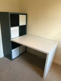 White Ikea desk with dark turquoise shelving unit and storage cubes