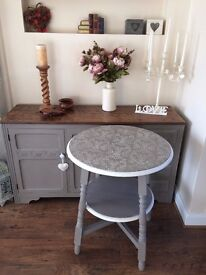 Pretty Shabby Chic Side Table Painted Annie Sloan Grey & White