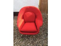 red designer armchair