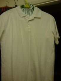 """M&S back to School - White polo tops - 2 - Age 13-14 / 34"""" chest NEW"""