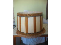 Large Vintage Cream Pleated Silk Lampshade.