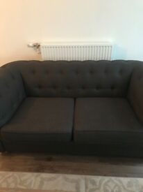 2 seater grey fabric sofa