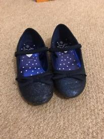Girls blue sparkly party shoes size 10 Debenhams