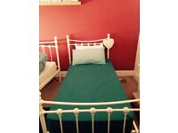 Single cream metal bed with mattress New