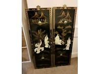 Very old Japanese Mother of pearl wall plaques pictures x2