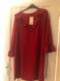 Red mango dress with ruffles brand new with tags