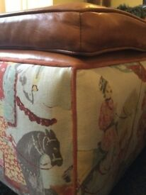 Kilim and leather Upholstered ottoman / footstool / coffee table