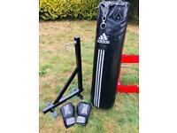 Limited Edition Adidas Black Boxing Punch Bag / Metal Wall Bracket / Gloves Set!!!