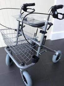 Folding wheeled mobility walker/seat with tray and shopping basket