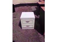 White two draw Bedside Cabinet Delver Available £5