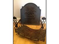 Cast Iron Swans nest fire basket with Art Deco style dogs and st George backplate