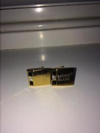 Mont Blanc Cufflinks With Packaging Gold