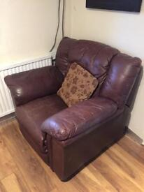 Single leather reclining lounge chair