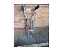 Halfords tow bar mounted cycle carrier, tow ball available for towing when cycle is on carrier