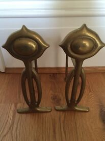 Pair of antique solid brass Art Deco fire dogs