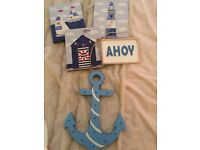 Laura Ashley blue Anchor wall light & nautical pics