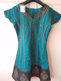 Green and black anarkali suit with embroidery