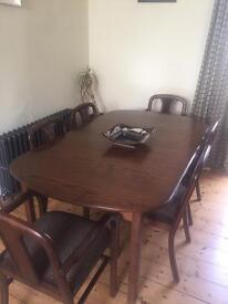 1970's cherry wood dining table with original fabric