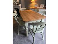 Large farmhouse dining table & chairs pine. Refurbished.