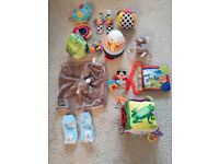 Bundle of small soft toys and rattles inc Lamaze