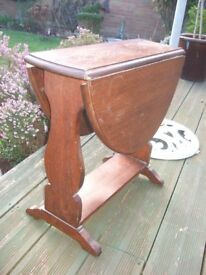 PRETTY ANTIQUE DROP LEAF SIDE TABLE ~SHABBY CHIC ROJECT ?