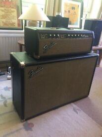 Vintage Fender 1966 Blackface Bandmaster AB763 Head and Cab Guitar Amplifier