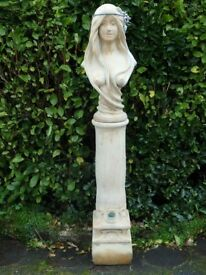 Cast Stone Garden Statue Female Bust  on Column Plinth with Lead Detailing