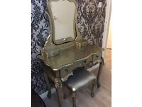 French Silver Dressing Table Mirror & Stool Set Antique Vintage Style