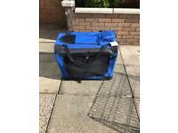 Medium size dog carrier/cage, blue