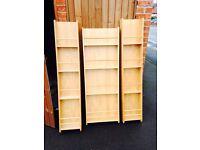 3 x free standing shelves