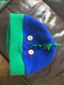 Green and blue, dragon warm hat for a 4 or 5 year old