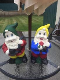 PAIR OF GARDEN GNOMES FOR SALE £10 FOR BOTH OR £6 EACH JUST FRESHLY PAINTED
