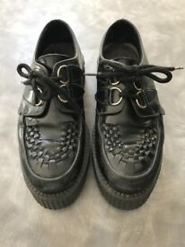 Genuine underground black leather double platform creepers