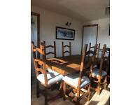 Rustic Pine table and 6 chairs